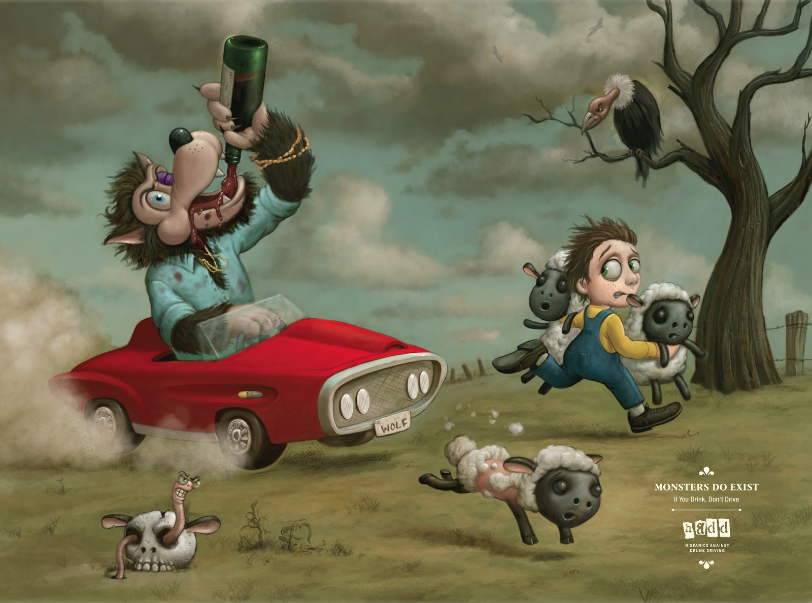 Monsters do exist. If you drink, don't drive. Hispanic Against Drunk Driving.